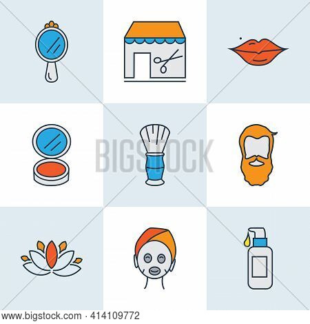 Salon Icons Colored Line Set With Beard, Face Foundation, Barbershop And Other Cosmetics Elements. I
