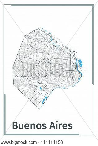 Buenos Aires Map Poster, Administrative Area Plan View. Black, White And Blue Detailed Design Map Of