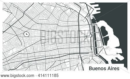 Map Of Buenos Aires City, Argentina. Horizontal Background Map Poster Black And White Land, Streets