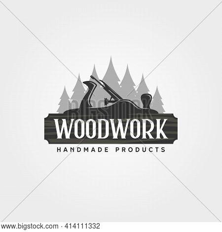 Carpentry Woodwork And Plane Logo Vector Illustration Design, Carpentry Planer Vintage Logo Design