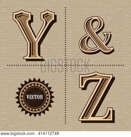 Western Alphabet Design Letters Vintage Vector (y&z)