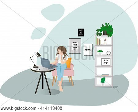 Woman Working Home Office.home Office Workplace.modern Office Interior.