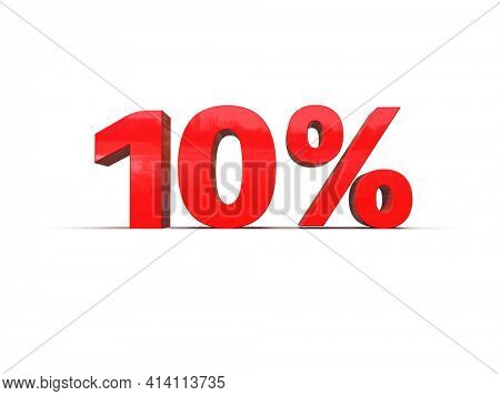 3d Illustration: 10 Percent Sign, Economic Crisis, Financial Crash, Red 10% Percent Discount 3d Sign on White Background, Special Offer 10% Discount Tag, Sale Up to 10 Percent