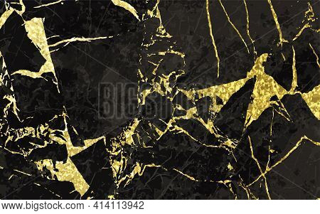 Black And Gold Marble Texture Design For Cover Book Or Brochure, Poster, Wallpaper Background Or Rea