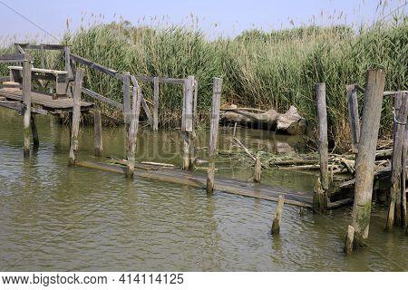 Po River (fe),  Italy - April 30, 2017: Typical Scenery Near Po River, Delta Regional Park, Emilia R