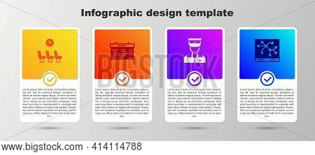Set Waiting Room, Train Station Board, Conductor And Railway Map. Business Infographic Template. Vec