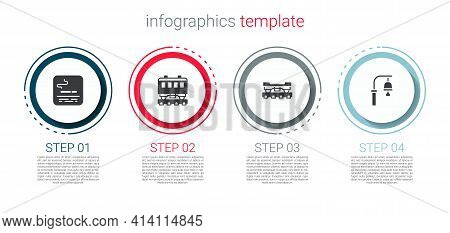Set Smoking Area, Passenger Train Cars, Cargo Wagon And Train Station Bell. Business Infographic Tem
