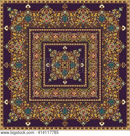 Scarf Or Kerchief Square Pattern Design Style For Print On Fabric.