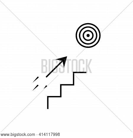 Steps To The Target With Arrow Thin Line Icon In Black. Career Growth Concept. Trendy Flat Style Iso