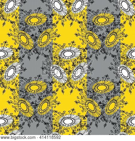 Abstract Dandelion Seeds Stripesd Seamless Vector Pattern Background.stylised Groups Of Herbacious G