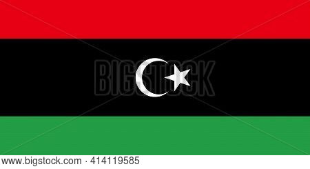 National Flag Of Libya In The Original Size,colours And Proportions(1:2)