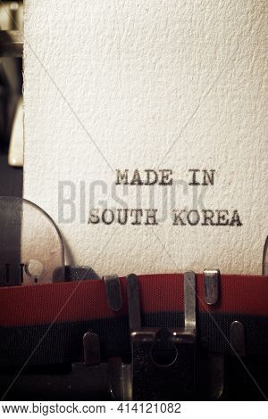 The sentence, Made in South Korea, written with a typewriter.
