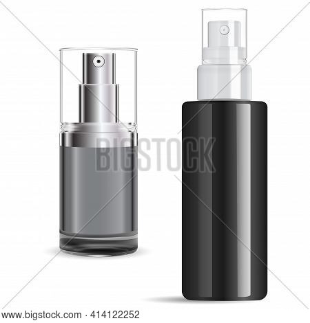 Serum Spray Bottle Silver Cap. Cosmetic Pump Bottleclear 3d Illustration. Mist Pump Cap Bottlefor Fa