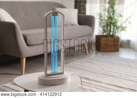 Uv Lamp For Light Sterilization On Table In Living Room