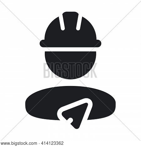 Trowel Icon With Construction Worker Male Person Profile Avatar For Contractor Builder With Hardhat