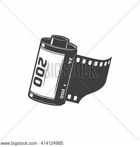 Filmstrip Reel Isolated Camera Diapositive Monochrome Icon. Vector Film Strip Retro Video Camera Dia