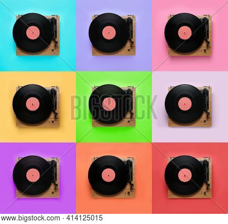 Collage Of Turntables With Vinyl Records On Different Color Backgrounds, Top View