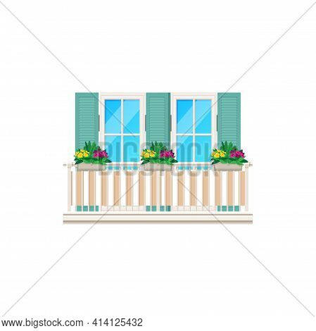Balcony With Window And Fence Railing, Building Architecture And House Facade, Vector. Balcony Banis