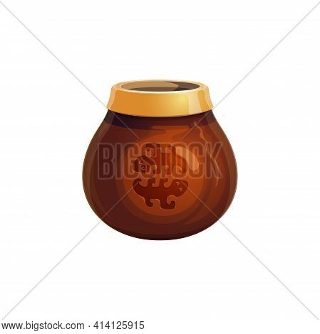 Calabash Gourd Cup With Yerba Mate Tea Isolated Realistic Icon. Vector South American Hot Beverage D