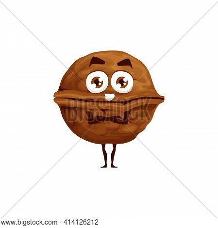 Walnut In Shell, Whole Fruit With Kernel Isolated Happy Emoticon Flat Cartoon Character. Vector Brow
