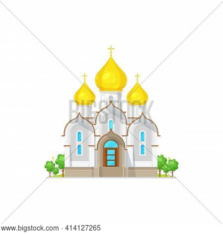 Orthodox Cathedral, Church With Domes, Chapel And Crosses Isolated. Vector Facade Of Chapel, Holy Tr