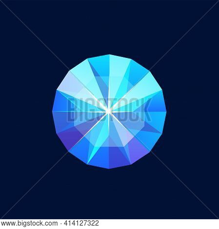 Blue Magic Crystal, Faceted Gem Vector Icon, Jewel Rock Of Round Shape, Diamond, Sapphire Mineral St
