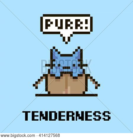 Colorful Simple Flat Pixel Art Illustration Of Cartoon Cute Kitten Sitting In An Open Cardboard Box