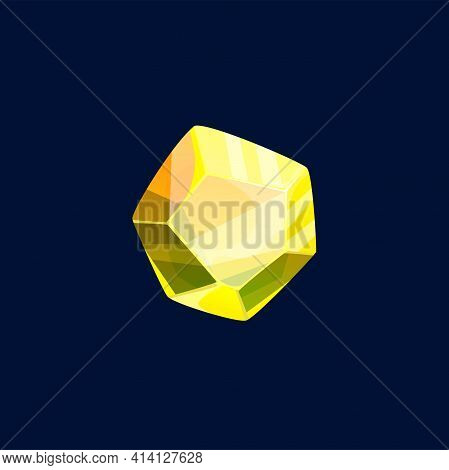 Magic Crystal Vector, Rock Piece, Gem Stone Of Yellow Color. Isolated Mineral Crystalline Gemstone S