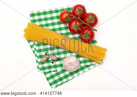 Composition Of Pasta Spaghetti Ingredients Isolated On White Background, Top View