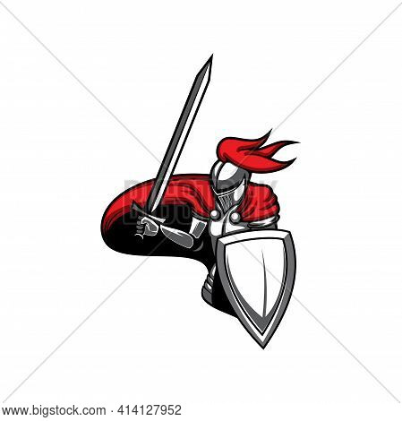 Medieval Knight, Heraldic Mascot Vector Icon, Warrior With Raised Sword And Shield. Isolated Guard W