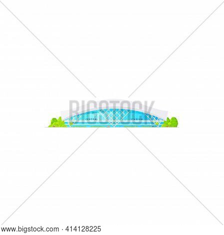 Central Stadium Sport Arena Isolated Modern Building With Green Trees. Vector Athletic Tracks, Socce