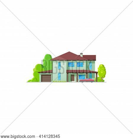 House Home Icon, Bungalow Cottage And Real Estate Building, Vector Isolated. Villa And Residential A