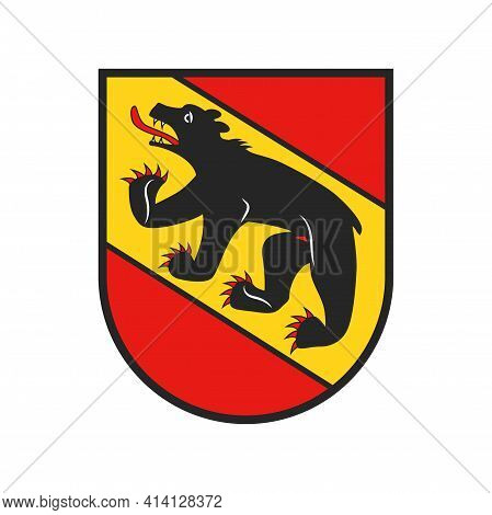 Swiss Canton Emblem, Bern Or Berne In Switzerland Vector Coat Of Arms Icon. Switzerland Country, Ber