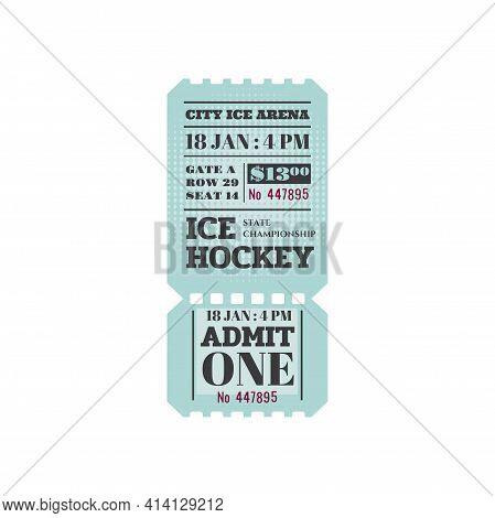 Ice Hockey Ticket , Admit One On Rink Arena With Cutting Line Isolated Mockup. Vector Winter Sport E