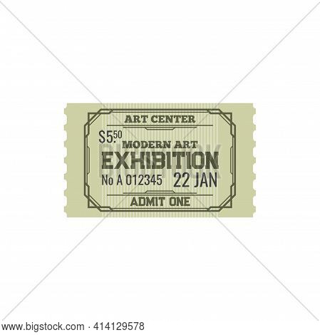 Ticket To Modern Art Center, Numbered Paper Card To Exhibition Or Fair Trade Of Paintings Voucher. A