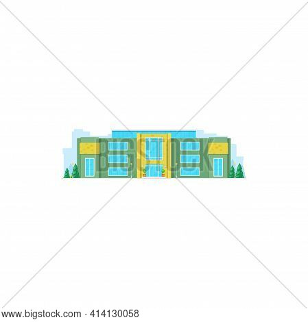 Building Facade Exterior On Rent Or Sale Isolated Municipal Government House. Vector Urban Business