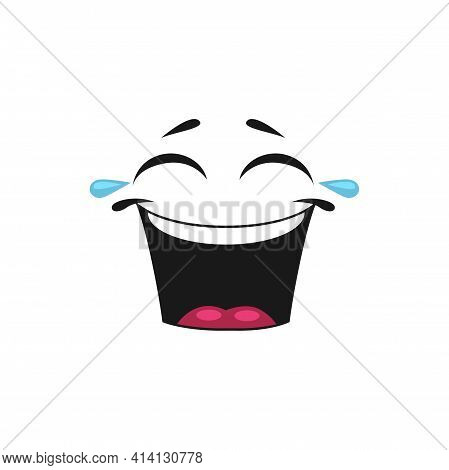 Cartoon Face Laugh To Tears, Vector Happy Emoji, Laughing Facial Expression With Wide Open Toothy Mo