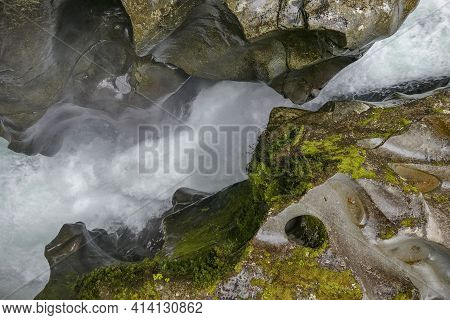 Natural Scenery Around The Chasm Falls At Cleddau River At The South Island Of New Zealand