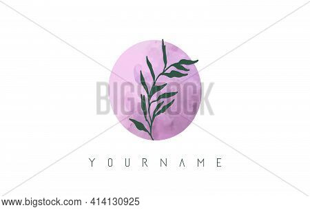 O Letter Logo Design With Pink Circle And Green Leaves. Vector Illustration With With Botanical Elem