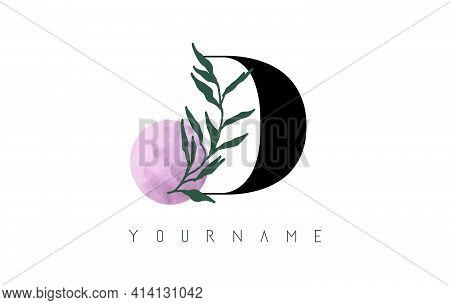 D Letter Logo Design With Pink Circle And Green Leaves. Vector Illustration With With Botanical Elem