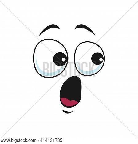 Cartoon Face Vector Icon, Surprised Funny Emoji, Astonished Facial Expression With Wide Open Or Gogg