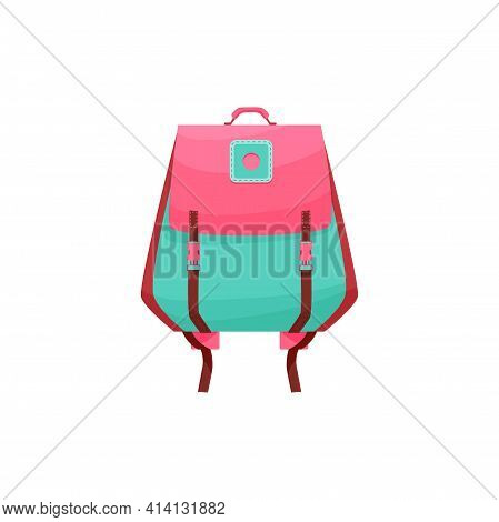 Kids Schoolbag Isolated Vector Icon, Cute Girl Cartoon Rucksack Of Pink And Turquoise Colors. Baby S