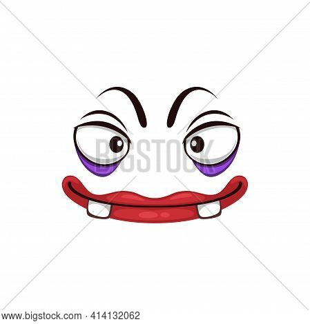 Monster Face Cartoon Vector Icon, Funny Halloween Emotion With Creepy Slanting Eyes And Toothy Mouth