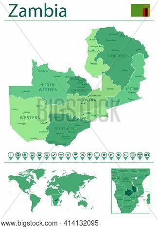 Zambia Detailed Map And Flag. Zambia On World Map.