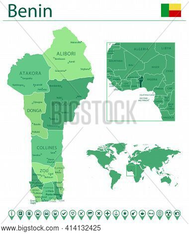 Benin Detailed Map And Flag. Benin On World Map.
