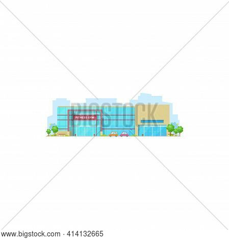 Fitness Gym Architecture, Front View Of Beauty Center Isolated Modern Building. Vector Public Fitnes