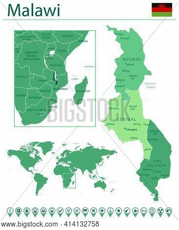 Malawi Detailed Map And Flag. Malawi On World Map.