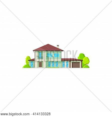 Modern Exterior Building With Garage, Chimney On Roof And Garden With Trees Isolated Flat Cartoon Ic