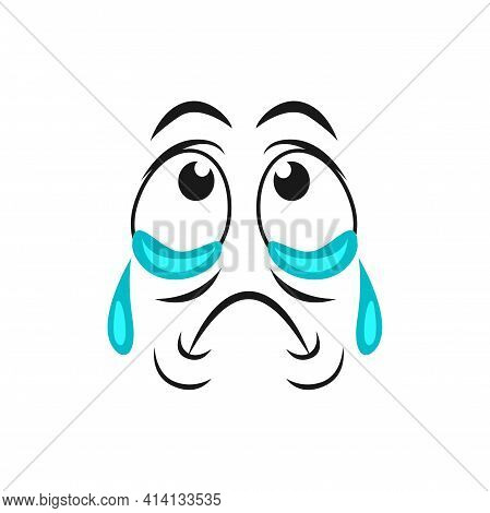 Cartoon Crying Face Emoji With Tears Dripping From Eyes. Upset Vector Dissatisfied Facial Expression