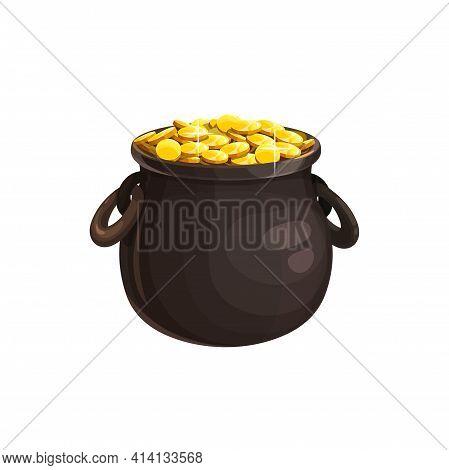 Pot Of Golden Coins Isolated Icon Of St. Patricks Day. Vector Leprechaun Treasury, Patricks Day Holi